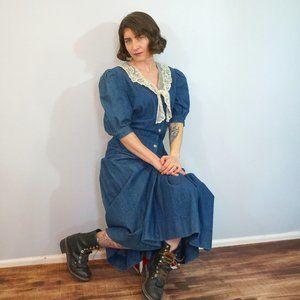 Neiman Marcus Lace Collar Jean Cottagecore Dress